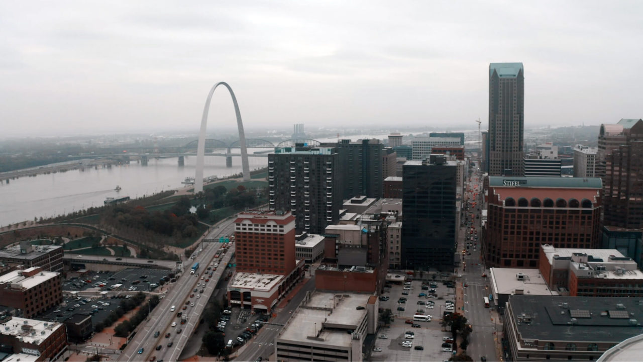 city scape of St Louis with Arch